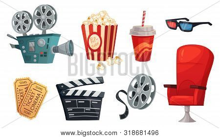 Cartoon Cinema Elements. Movie Theater Popcorn, Filming Cinema Clapperboard And Retro Film Camera. C