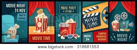 Cinema Poster. Night Film Movies, Popcorn And Retro Movie Posters Template. Cinematograph Advertisin