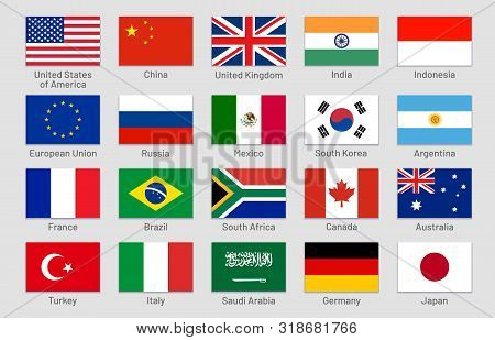 G20 Countries Flags. Major World Advanced And Emerging Economies States, Official Group Of Twenty Fl