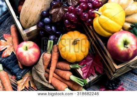 Autumn And Fall Season. Harvest Cornucopia And Thanksgiving Day Concept With Fruit And Vegetable.