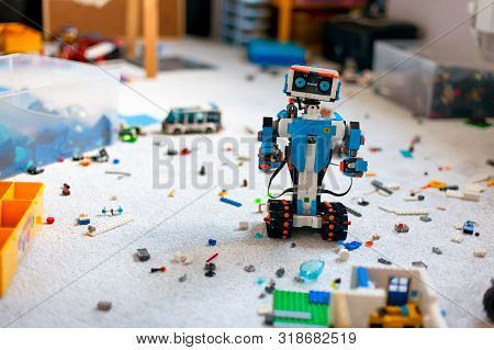 Tambov, Russian Federation - June 16, 2019 Lego Boost Robot Standing In Room With Other Lego Toys, B