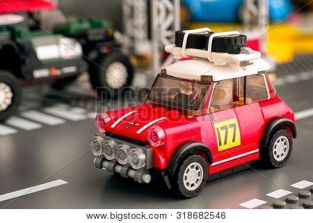 Tambov, Russian Federation - August 18, 2019 Lego 1967 Mini Cooper S Rally Car By Lego Speed Champio