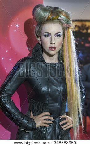 Prague, Czech Republic - December 2018: Lady Gaga Wax Figure In Madame Tussauds Museum