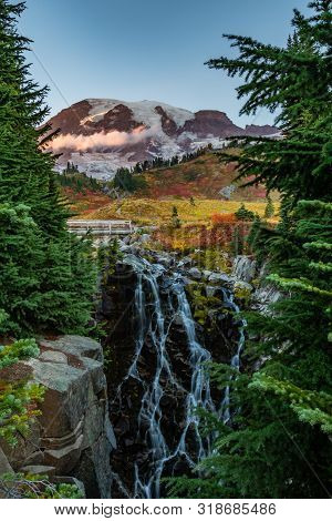 Myrtle Falls Tumbles Below Mount Rainier On Autumn Afternoon