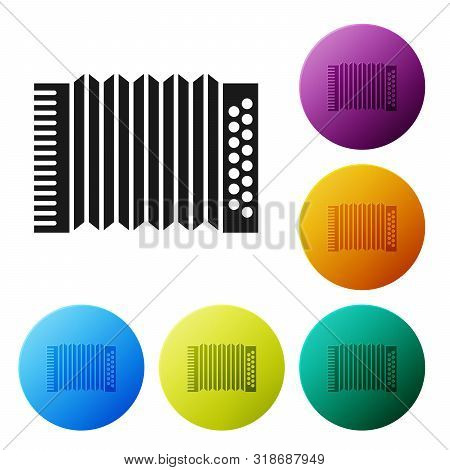 Black Musical instrument accordion icon isolated on white background. Classical bayan, harmonic. Set icons colorful circle buttons. Vector Illustration poster