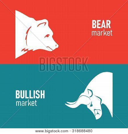 Bullish And Bearish Symbols On Stock Market Vector Illustration. The Symbol Of The Bear And The Bull