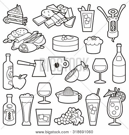 Set Of Bistro And Restaurant Menu Line-art Icons.