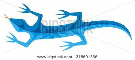 Blue Lizard Icon With Tribal Shapes On Body Isolated On White Background.