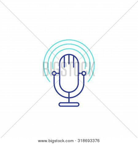 Podcast Vector Line Icon With Mike, Eps 10 File, Easy To Edit