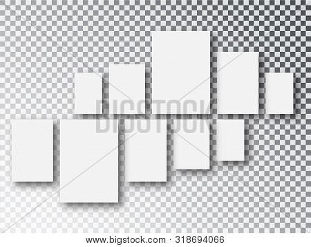 Blank White 3d Paper Canvas Or Photo Frames Isolated On Transparent Background. Collage Concept. Col