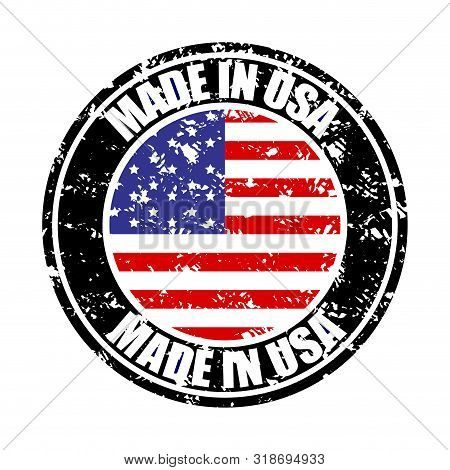 Made In Usa, Colored Rubber Stamp. Vector United States Manufacture Stamp, Fabricated In America, Us