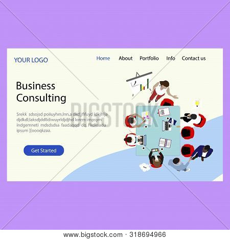 Business Consulting Company, Landing Page. Consulting In Business And Solve Complex Problems. Vector