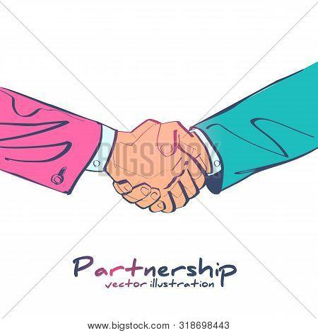 Handshake Business Icon. Symbol Of Successful Transaction. Partnership, Meeting Businessman. Vector