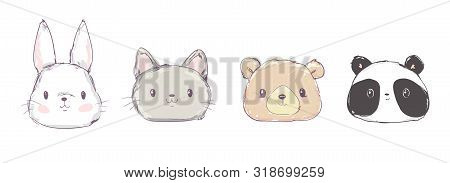 Cute Set Animals, Hand Drawn Cute Rabbit, Bear, Panda And Cat, Vector Illustration. Print Design. Cu