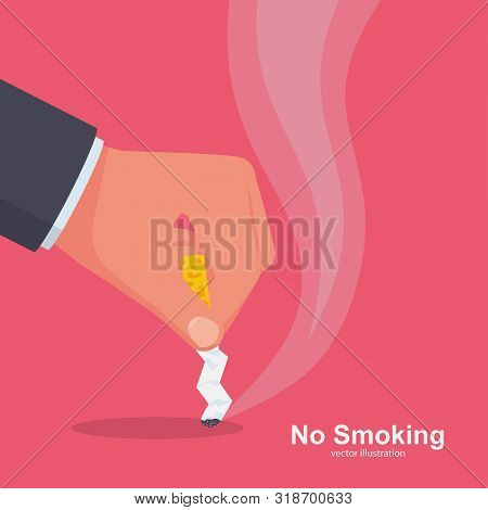 No Smoking. Quit Smoking Sign. Extinguish Cigarette Butt. Ban On Bad Habits. Cigarette In Hand Rejec