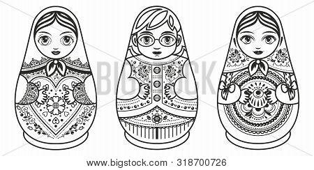 Russian Nesting Dolls Matryoshka. Babushka Doll.matryoshkas Family Vector.russian Doll. Matrioshka I