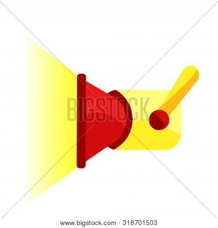 Red, Yellow Searchlight Shines. Searchlight. Modern Flat Cartoons Style Vector Illustration Icons. I