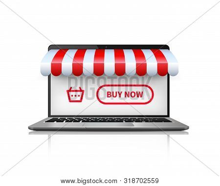 Online Shopping Concept. Realistic Image Open Laptop Buying And Shopping Online. Vector Illustration