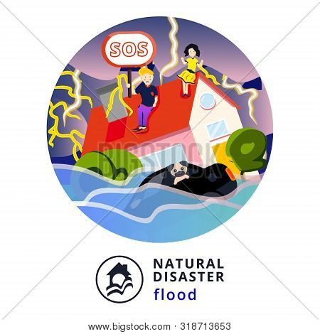 Natural Disaster.tsunami. Modern Flat Cartoons Style Vector Illustration Icons. Isolated On White.ts