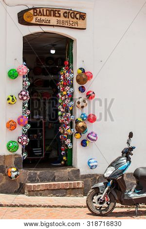 Mongui, Colombia - August, 2019: Traditional Factories And Stores Of Soccer Balls At The Beautiful S