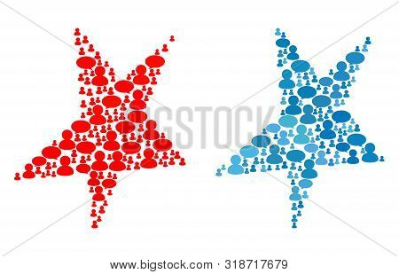Asymmetrical Star Mosaics Of Chat Clouds And People Symbols. Vector Mosaic In Blue Color Hues. Custo