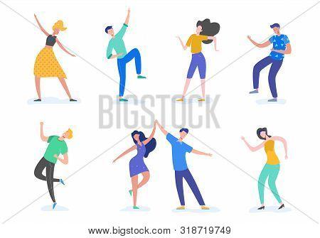Group Of Young Happy Dancing People Or Male And Female Dancers Isolated On White Background. Smiling