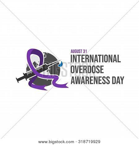 Drug Overdose Awareness Day Purple Ribbon Vector