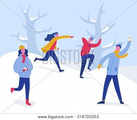 Winter Characters Playing Snowballs. Joyfull People Having Fun In Snow. Boys And Girls Throwing Snow
