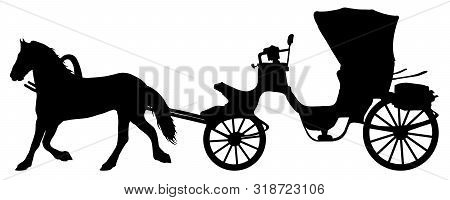 Horse Carriage Silhouette. Horse Cart Vector Illustration