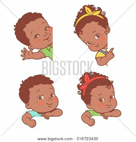 Baby Girl And Boy On White Background.
