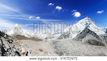 Himalaya, Panoramic View Of Himalayas Mountain, Mount Everest With Beautiful Sky And Khumbu Glacier