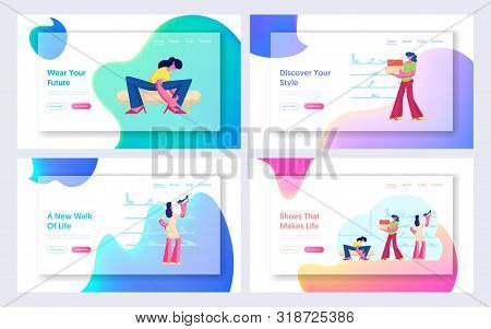 Women Customers Shopping In Shoe Market Website Landing Page Set. Girls Choose And Trying On Shoes I
