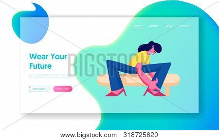Shopping Website Landing Page. Young Woman Trying On Shoes Sitting On Couch In Footgear Store. Young