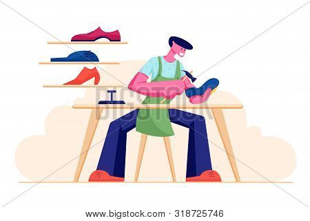 Shoemaker Male Character Wearing Apron Sitting At Workplace Desk Mending Shoe In Workshop With Footw