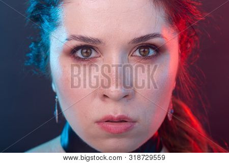 Gothic, halloween and people concept - close-up of charming woman in gothic makeup and choker poster