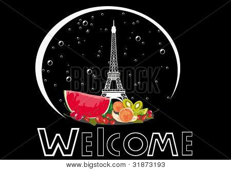 welcome label with winter silhouette of Eiffel Tower, isolated on black