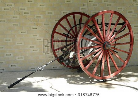 This Antique Fire Hose Cart Is One Of The Displays At Cedar Key Museum State Park. Artifacts Depict