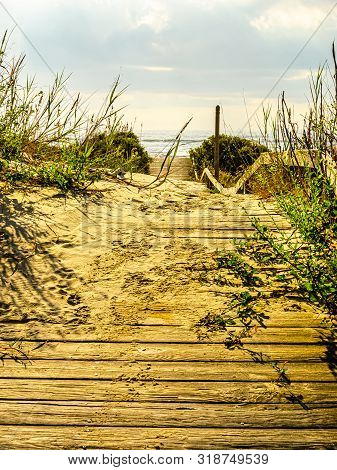 Artsy View Of A Wooden Path Over Sand Dunes On An Island Beach Covered In Windblown Sand.