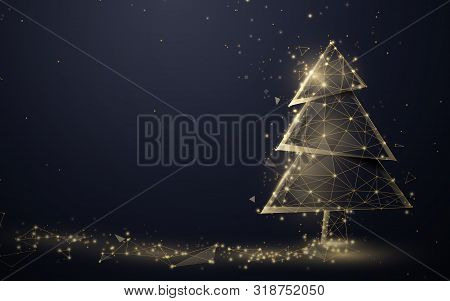 Gold Christmas Tree And Sparkling Lights Garland From Lines, Triangles And Particle Style Design. Il
