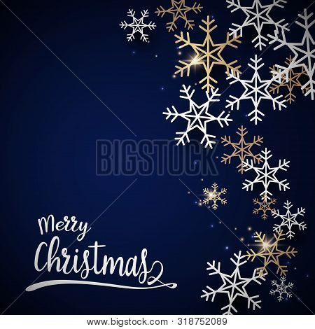 Merry Christmas And Happy New Year Postcard. Abstract Sparkling Gold And White Snowflake With Christ