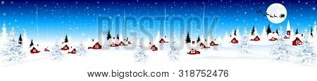 Little Village On Christmas Eve On Blue Winter Background. Snow-covered Village. Night Scene Of Wint