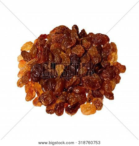 Organic Dried Raisins Isolated On White Background. Pile Of Dark Raisins