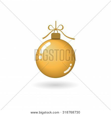 Christmas Tree Ball With Gold Ribbon Bow. Golden Bauble Decoration, Isolated On White Background. Sy