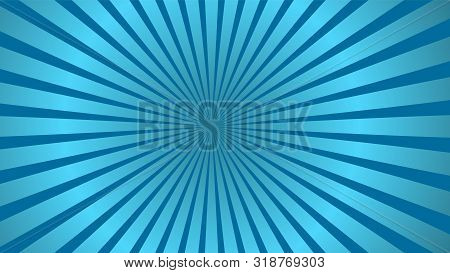 Sun Rays Background. Blue Radiate Sun Beam, Burst Effect. Sunbeam Light Flash Boom. Template Poster