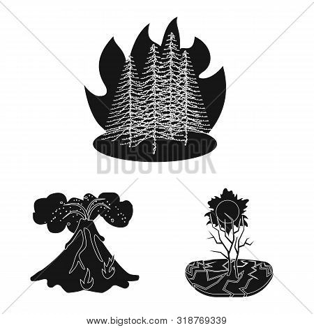 Isolated Object Of Calamity And Crash Sign. Collection Of Calamity And Disaster Stock Symbol For Web