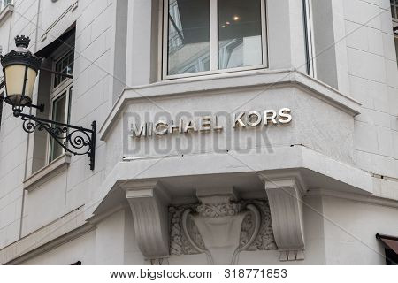 Luxembourg, Luxembourg - June 5, 2019: View Of Michael Kors Sign. Michael Kors Is A Multinational Fa