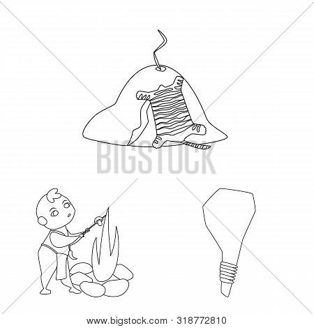 Isolated Object Of Primitive And Archeology Sign. Collection Of Primitive And History Vector Icon Fo