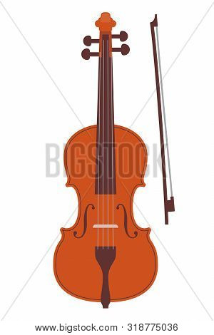 Simple Flat Style Classic Violin And Bow, Isolated On White. Realistic Orchestra Violin. Vintage Mus