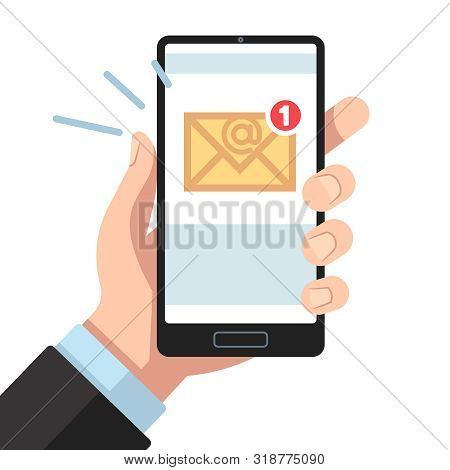 Email Notification On Smartphone In Hand. Inbox Unread Mail, New Emails Message. Sending Letters Rec