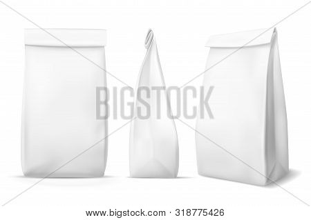 White Paper Food Bag. Blank Snack Product Packaging Bags Mockups. Products Pouch, Lunch Meal Box Pac
